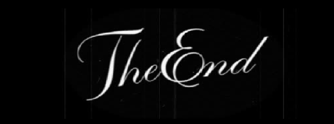 THE END WHITE ON BLACK