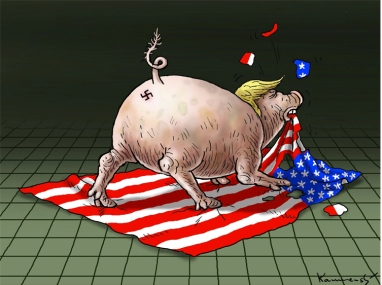 pig-trump-eating-us-flag
